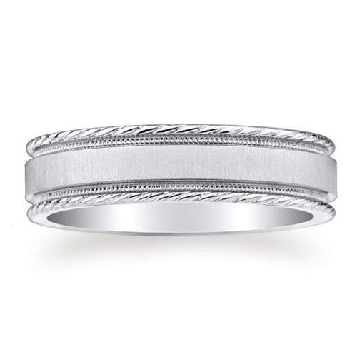 6mm wide 14K solid white Gold comfort-fit design wedding ring with inset milgrain and brushed...
