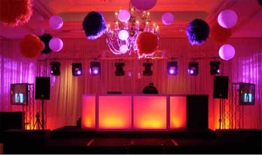 DJ booth and uplighting