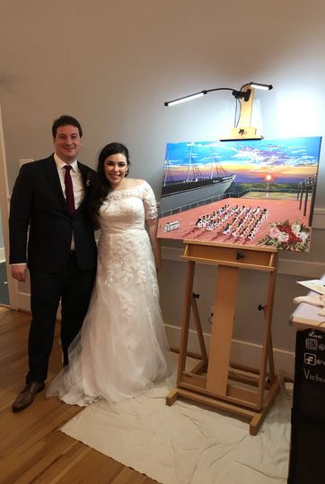 Bride and Groom with Painting