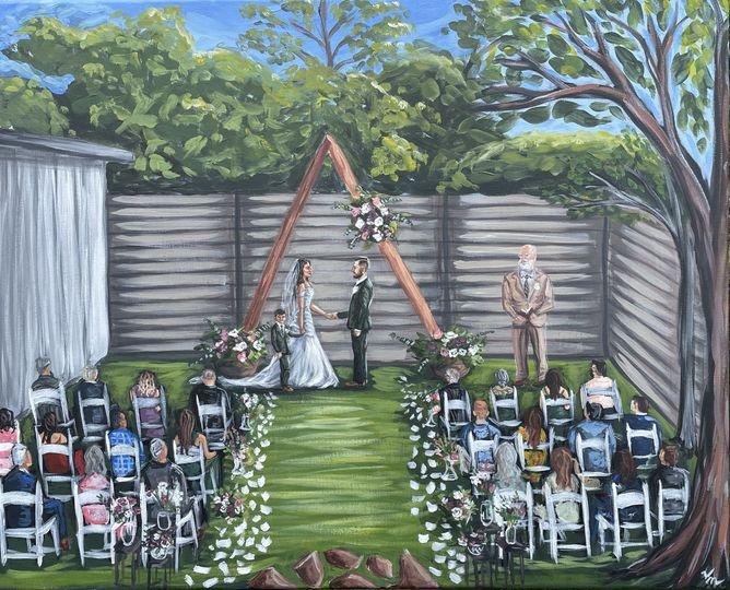 Backyard Live Wedding Painting