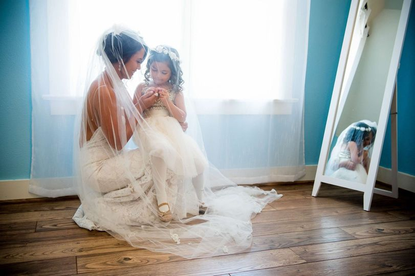 Bride with her child