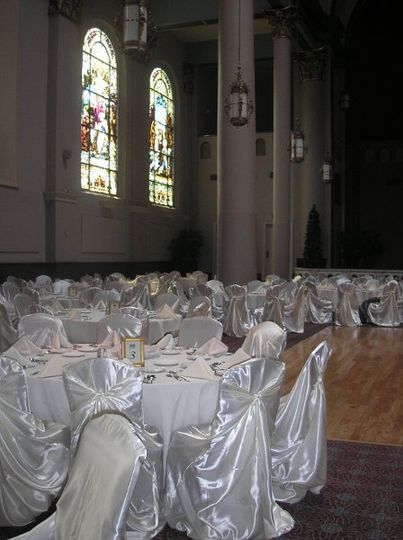 Wedding at The Priory Pittsburgh.  Satin covers with NO sash. $3.25 per chair