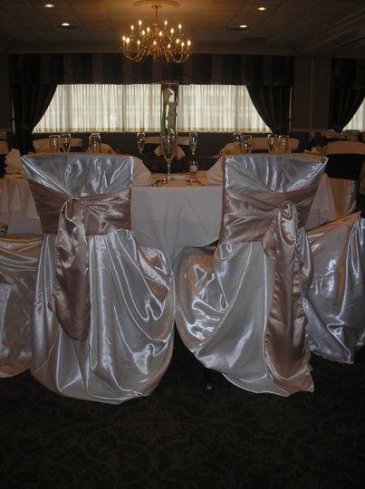 Wedding at The Rivers Club.  Satin Cover Satin sash.