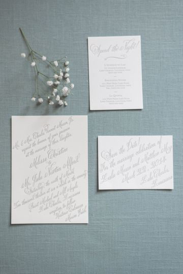 Styled invitations on blue
