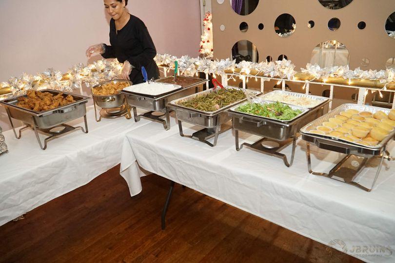 Buffet table ready
