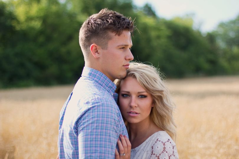 Engagement Photo Session. Wheat Field Summertime Photo.