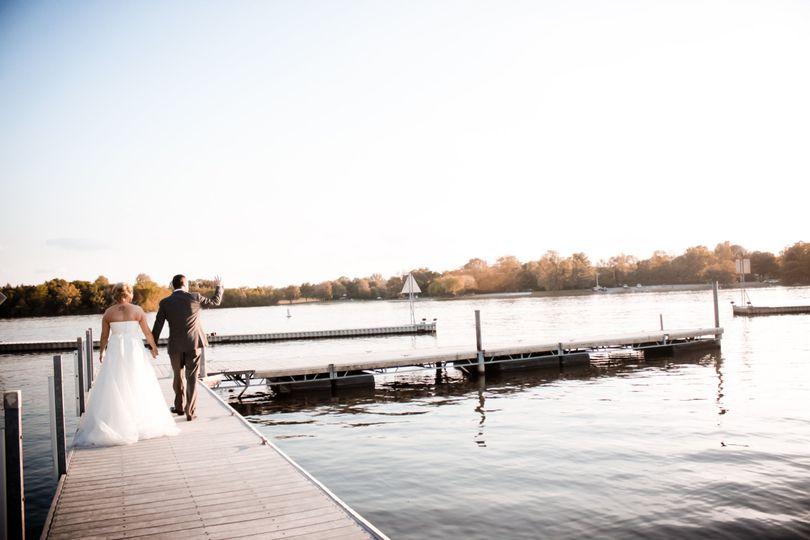 Newlyweds on the docks