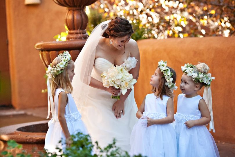 The bride with the little girls