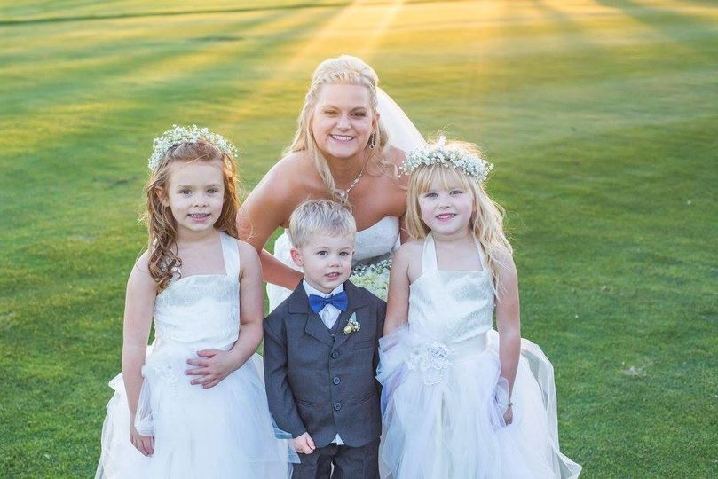The bride and the kids