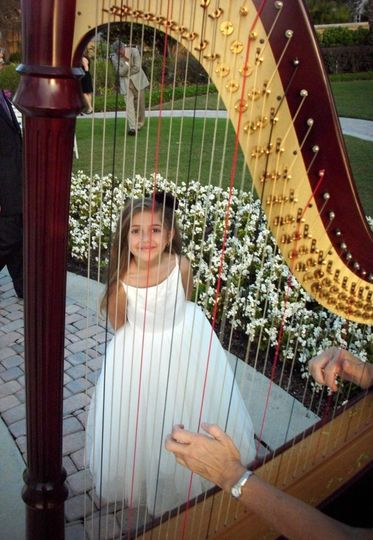 Harpist with the flower girl!