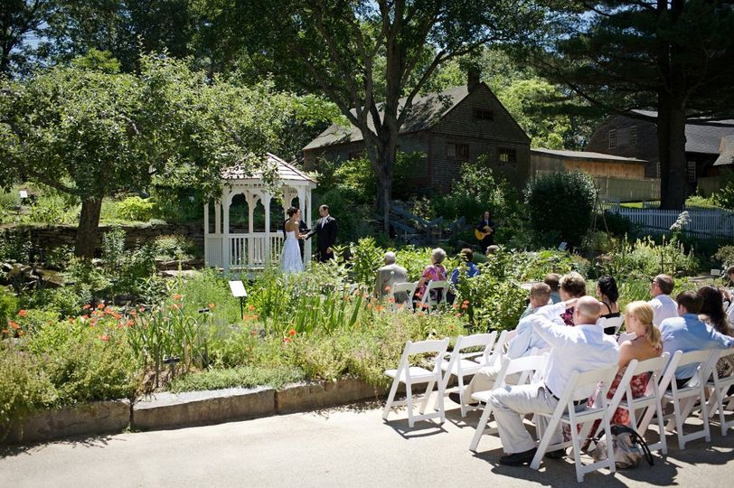 A ceremony in the Herb Garden gazebo