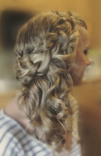 Bridal trial side swept style with braid