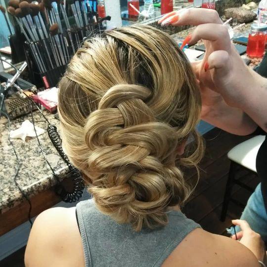 Blonde Braided Bridal updo