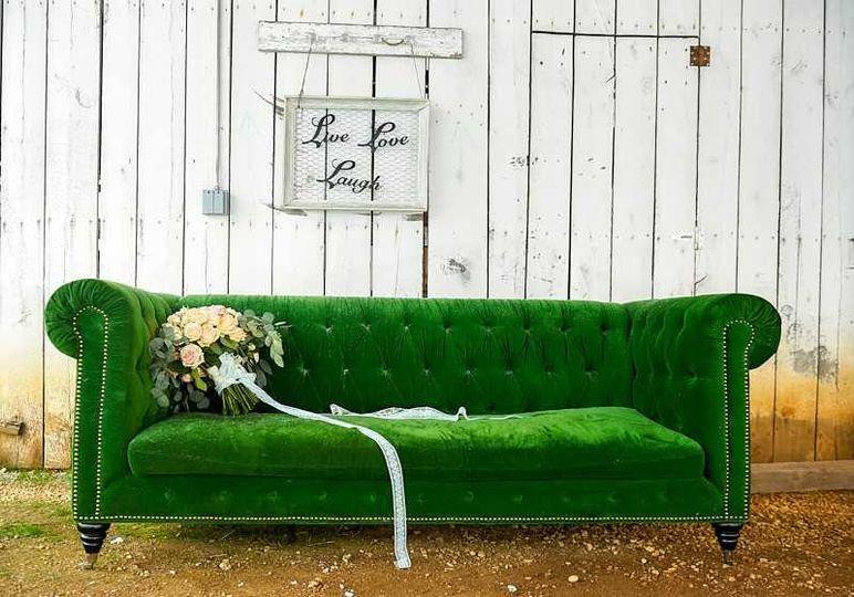 Bouquet and green velvet