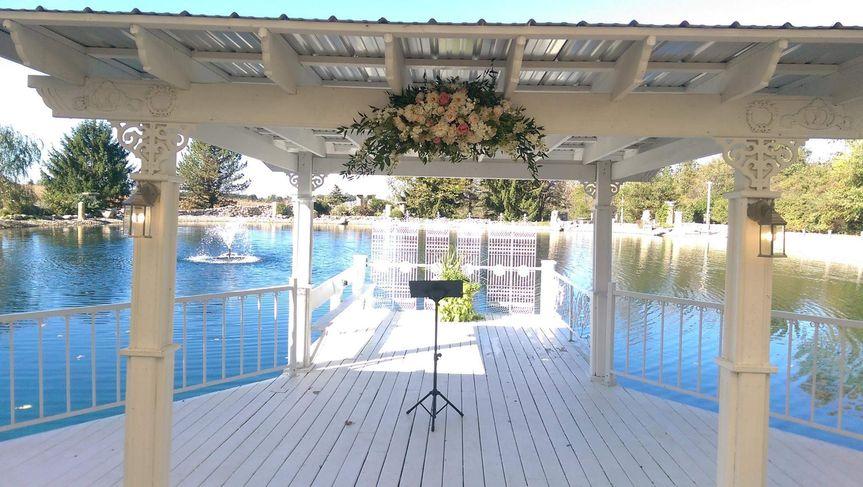 Overhead floral arrangement