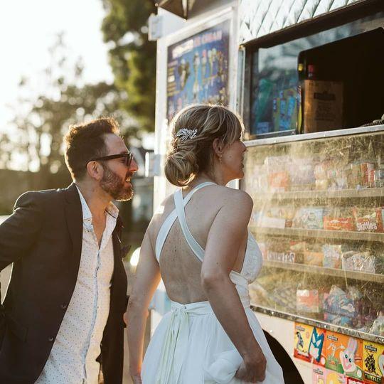 The couple getting ice cream