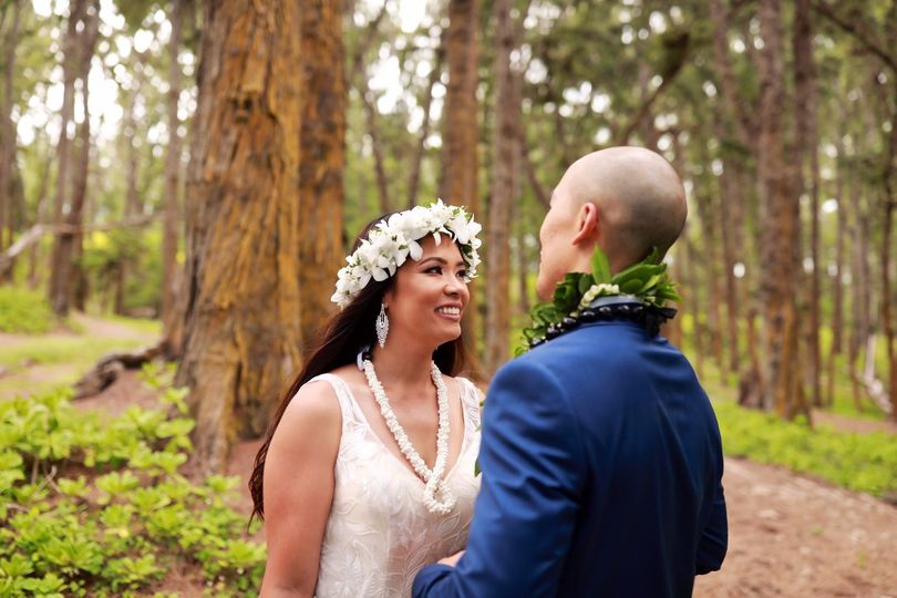 Newlyweds finding privacy in the forest
