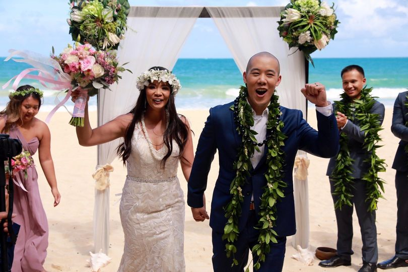 Becoming newlyweds on the beach