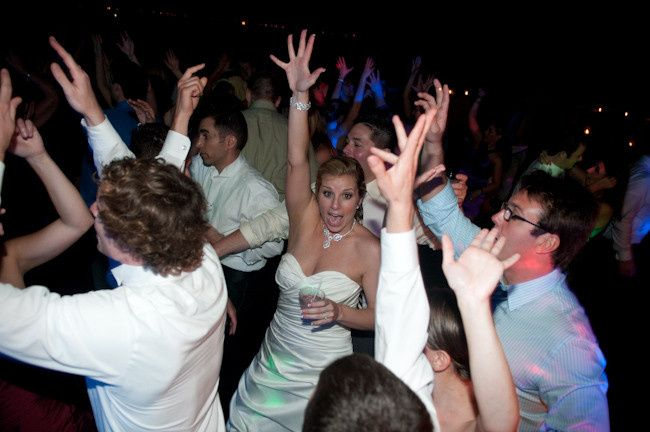 Bride dancing with the guests