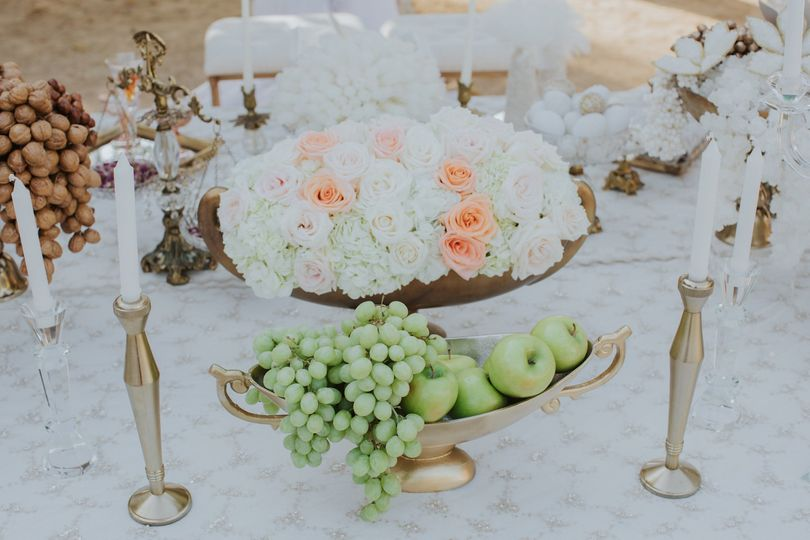 Platter of fruits and flowers