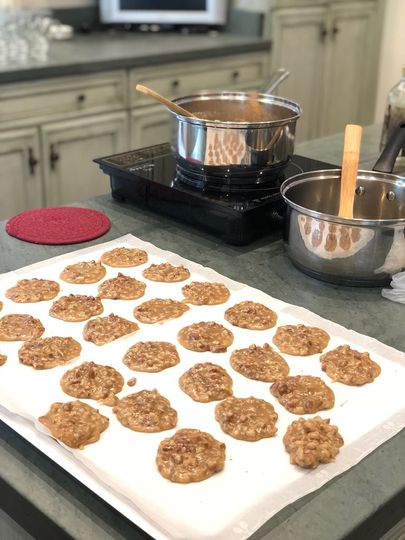 Pralines cooling on the pan