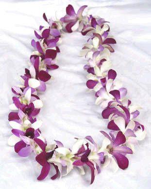 single white and purple dendrobium lei