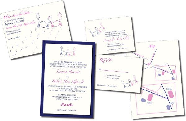 Crab Wedding Set -  Custom logo for an Annapolis loving couple. The complete wedding set includes...