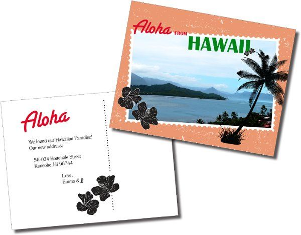 Hawaiian Moving Announcement - A double side postcard created to share a new home address. A retro...