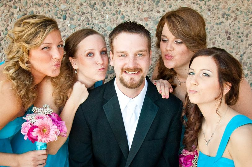 Groom + bridesmaids