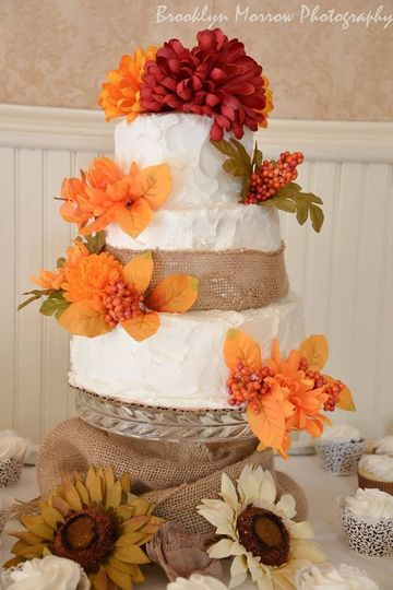 Orange and red floral cake