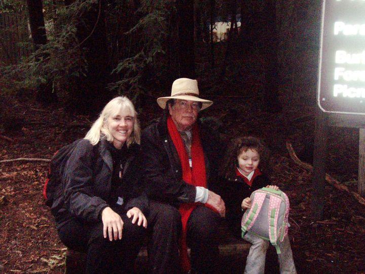 Michael, Wilder and Bonny Jean Russell Larrain under the redwoods