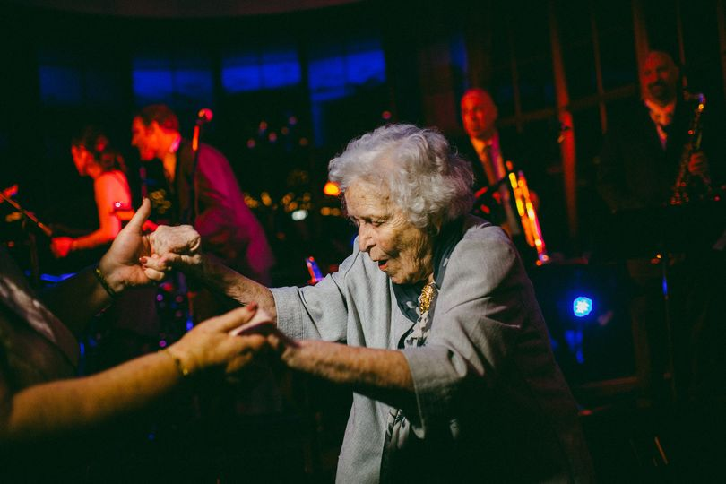 grandmother dancing at wedding
