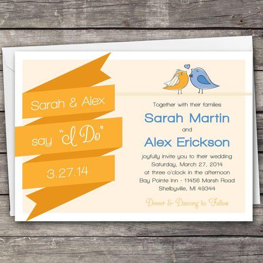 Love Birds Banner wedding invitation design. Downloadable set includes the invitation, RSVP card,...