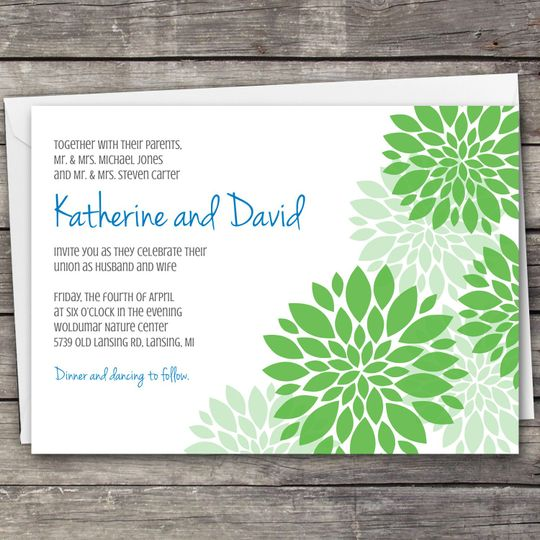Dahlia Flowers wedding invitation design. Downloadable set includes the invitation, RSVP card, and...