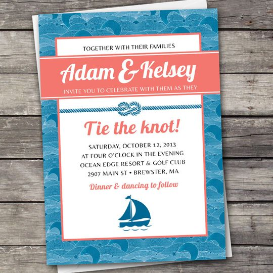 Nautical Waves wedding invitation design. Downloadable set includes the invitation, RSVP card, and...