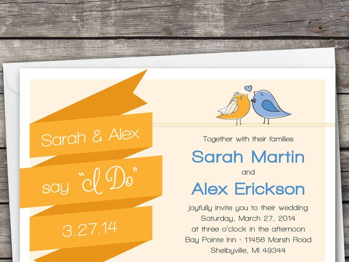 Tmx 1381867102274 Bannerbirds Orangeblue Large Novi wedding invitation