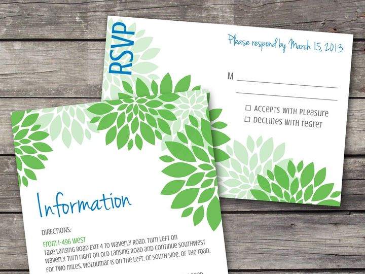 Tmx 1381867142187 Dahlia Inforsvp Bluegreen Novi wedding invitation