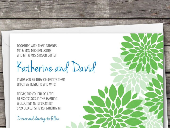 Tmx 1381867168583 Dahlia Large Bluegreen Novi wedding invitation