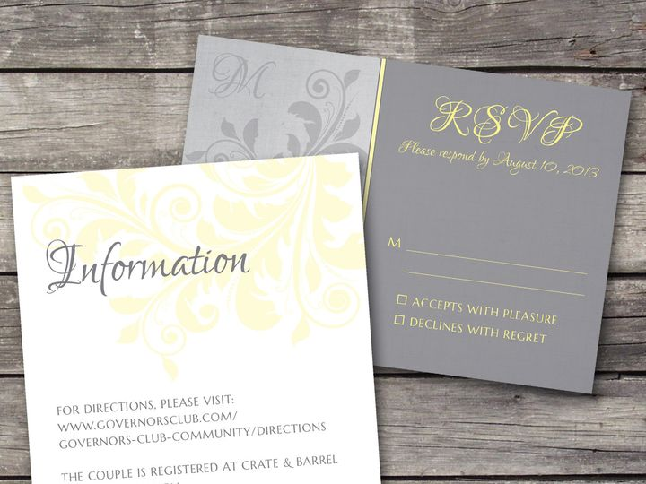 Tmx 1381867214597 Floralvintage Inforsvp Grey Novi wedding invitation