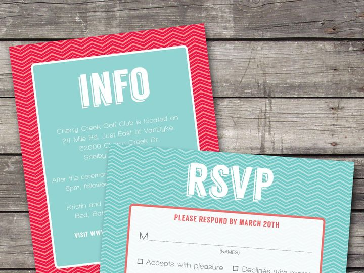 Tmx 1381867330662 Geometric Zigzag Coralteal Inforsvp Novi wedding invitation