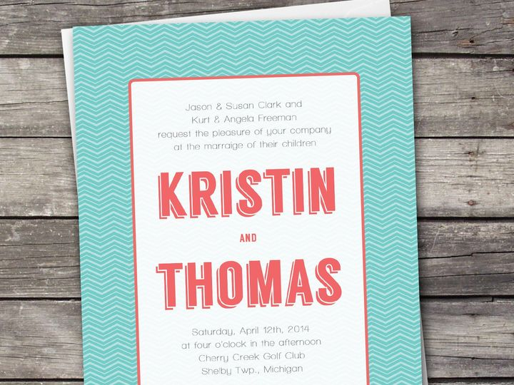 Tmx 1381867358718 Geometric Zigzag Coralteal Large Novi wedding invitation