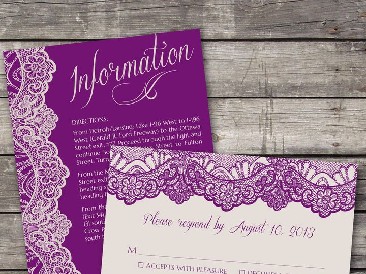 Tmx 1381867395732 Lace Inforsvp Purple Novi wedding invitation