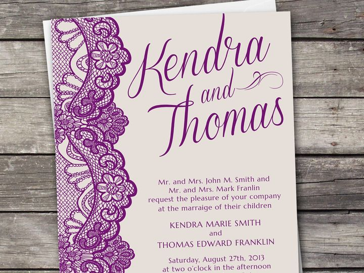 Tmx 1381867439990 Lace Large Purple Novi wedding invitation