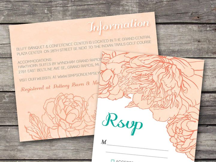 Tmx 1381867640465 Peonies Inforsvp Peach Novi wedding invitation