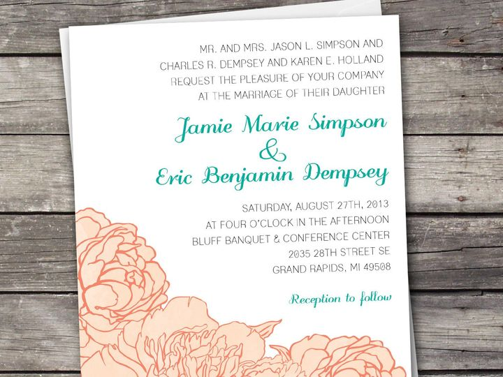 Tmx 1381867679105 Peonies Large Peach Novi wedding invitation