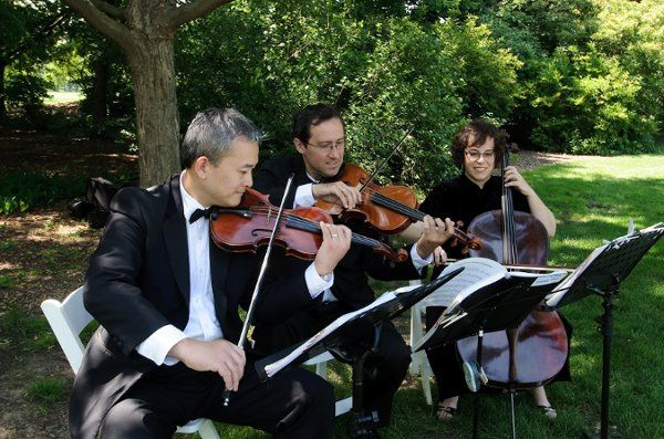 Outdoor wedding performed by the string trio
