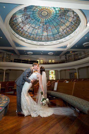 Joel & Lizzy Cottrell Verdon wedding day at First United Methodist Church in downtown Gulfport,...