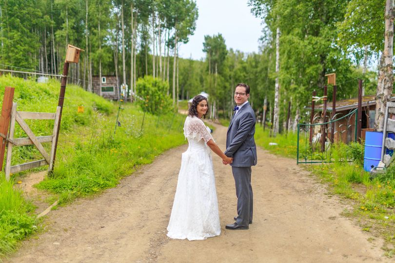 Newlyweds on the dirt path | Credit: chugach peaks photo