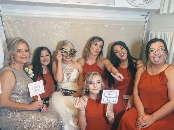 Wedding party in booth
