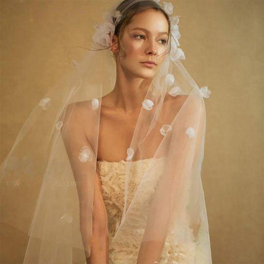 Juliet cap fingertip veil with 3d flower applique